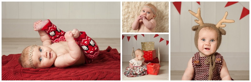 4 month old girl in various Christmas outfits