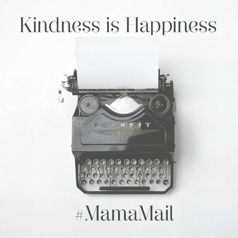 Kindness is Happiness message and typewriter