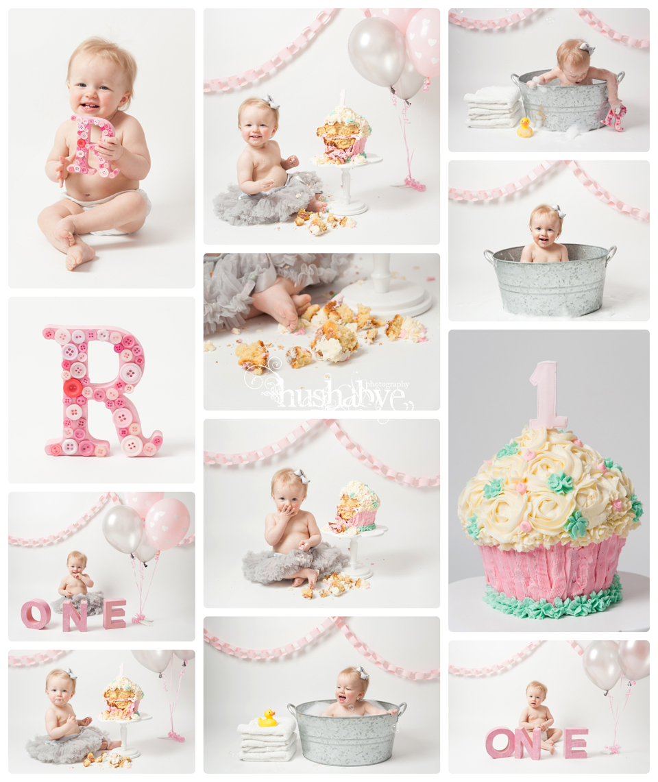 Montage of little one year old girl with cake and tutu also in metal bath tub