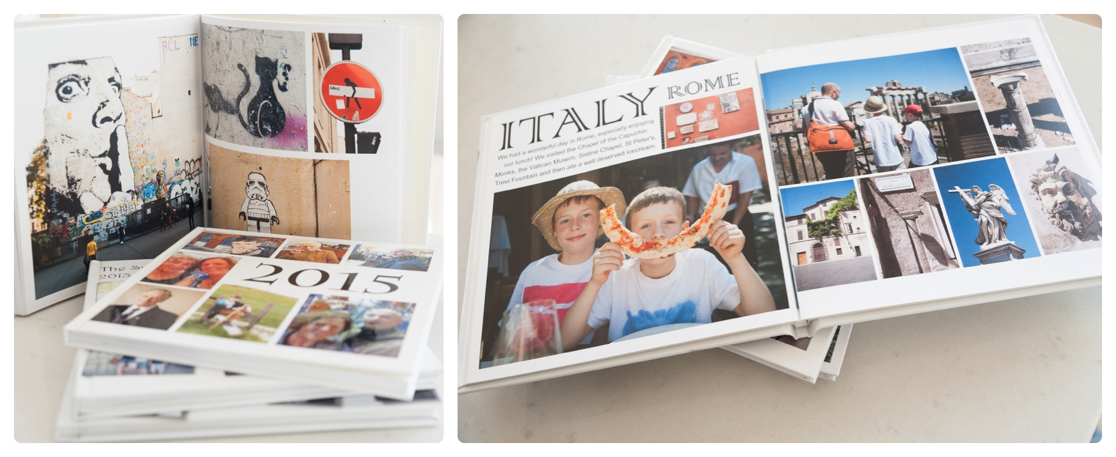 Family albums, open at page of Italian holiday