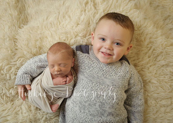 Newborn baby boy with older baby brother
