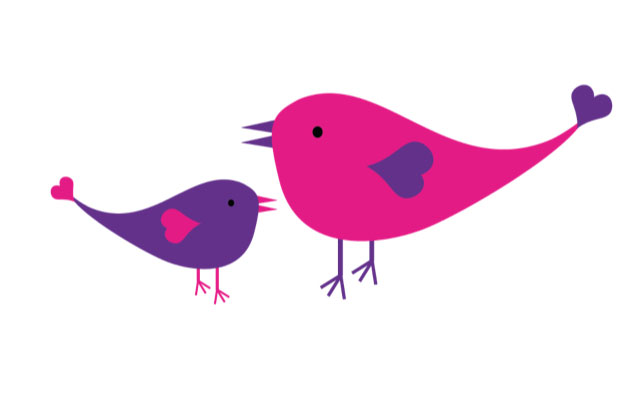 Pink and purple birds
