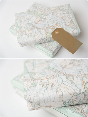 presents wrapped in old maps